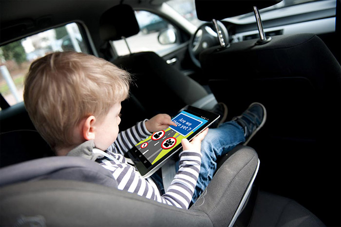 are we there yet childrens app advert child in car playing game