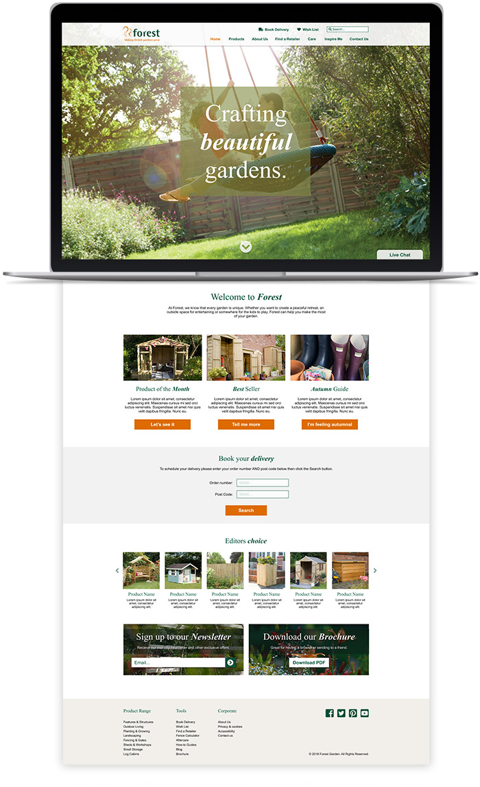 forest garden website design homepage desktop