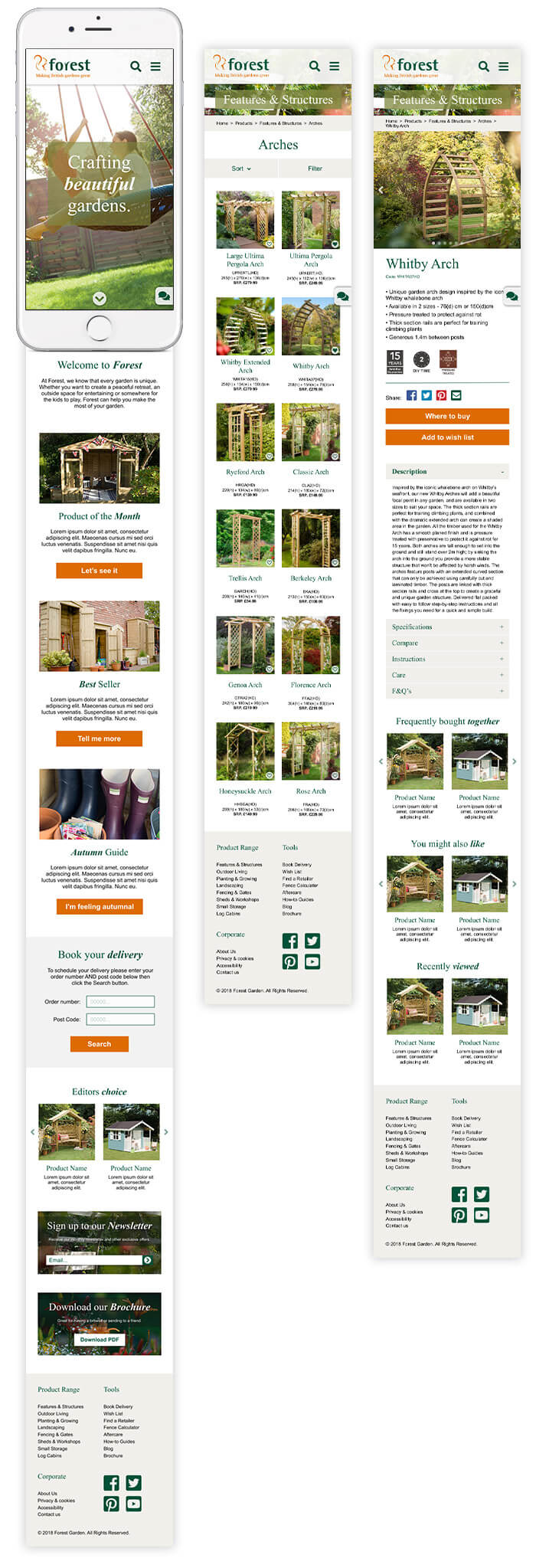 forest garden website design homepage products mobile