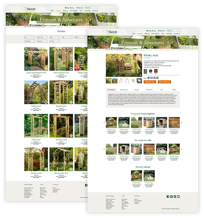forest garden website design products desktop