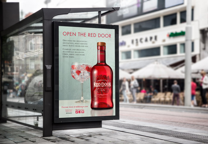 red door gin advert billboard