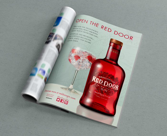 red door gin advert magazine